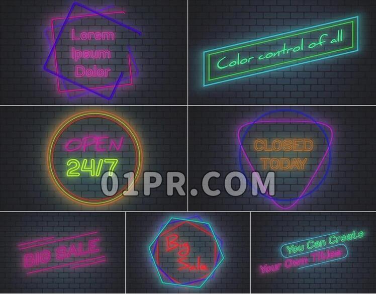 Pr素材霓虹灯标题工具+预设