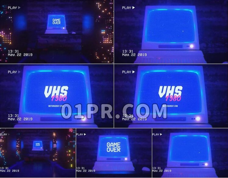 Pr模板VHS电脑Logo