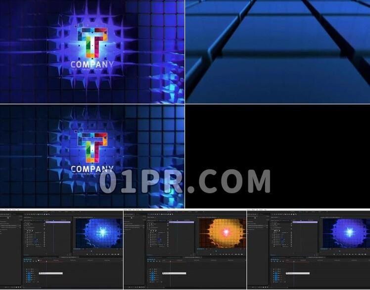Pr模板科技立方体WALLLOGO展示