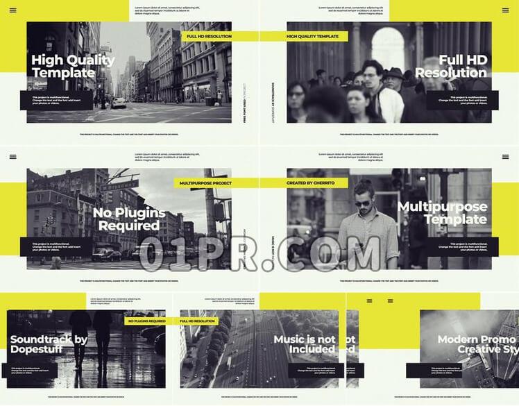 Pr模板创意城市片头