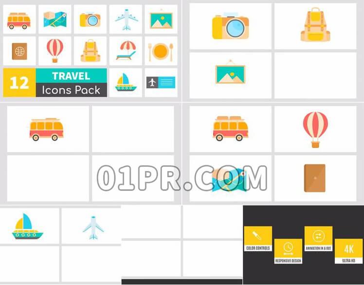 Pr图形模板动画旅行图标素材包