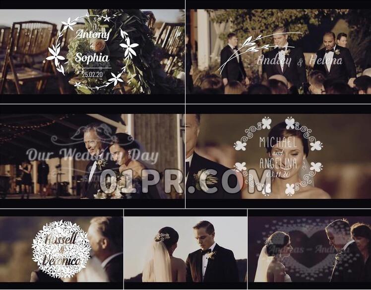 Pr模板婚礼标题素材包4K