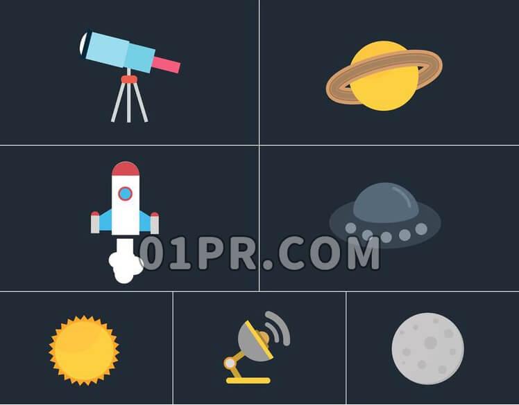 Pr图形模板空间图标素材包