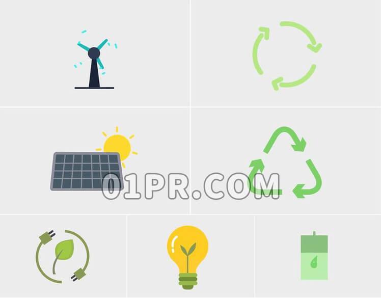 Pr图形模板 绿色环保生态图标素材包