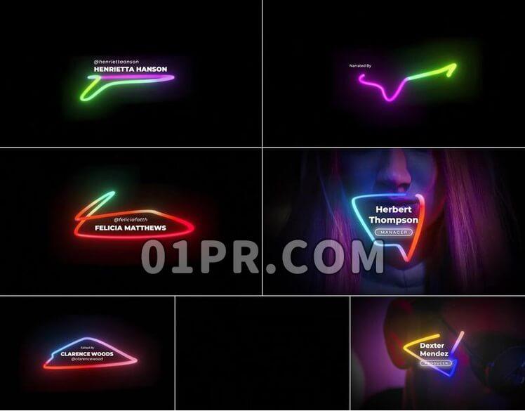 Pr图形模板字幕条标题霓虹灯6