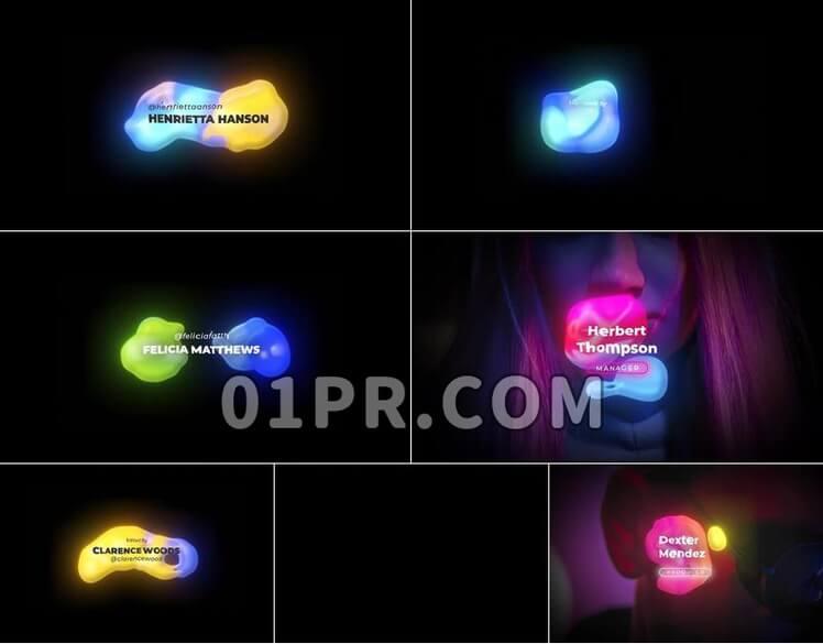 Pr图形模板字幕条流体霓虹灯4