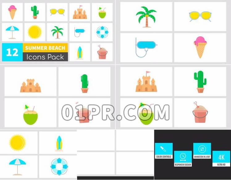 Pr图形模板夏日BEACH图标素材包