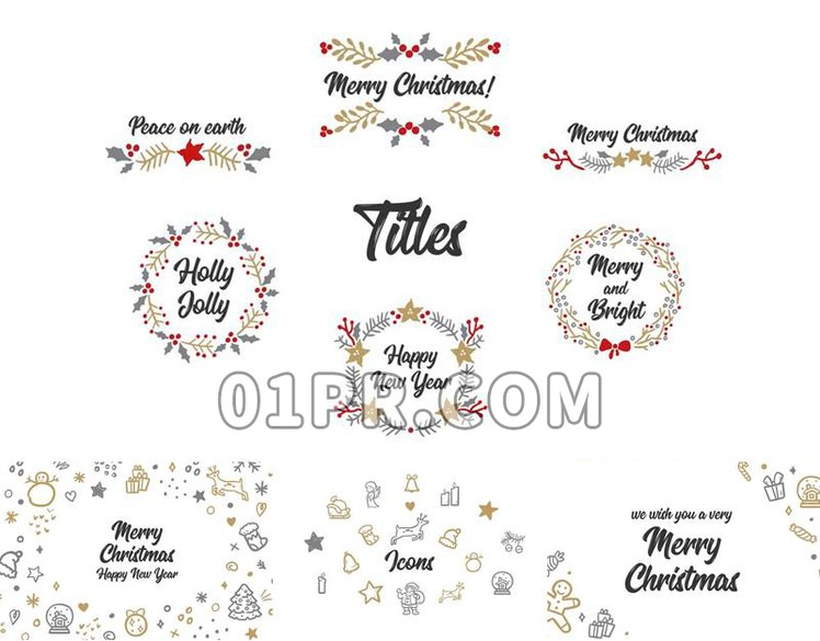 Pr素材手绘圣诞节 96组新年动画图形花环标题背景边框 Pr模板