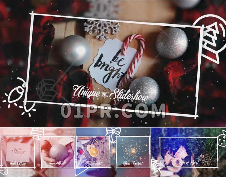 Pr落雪圣诞节相册模板 24张68秒4K冬季新年庆祝 Pr电子相册模板