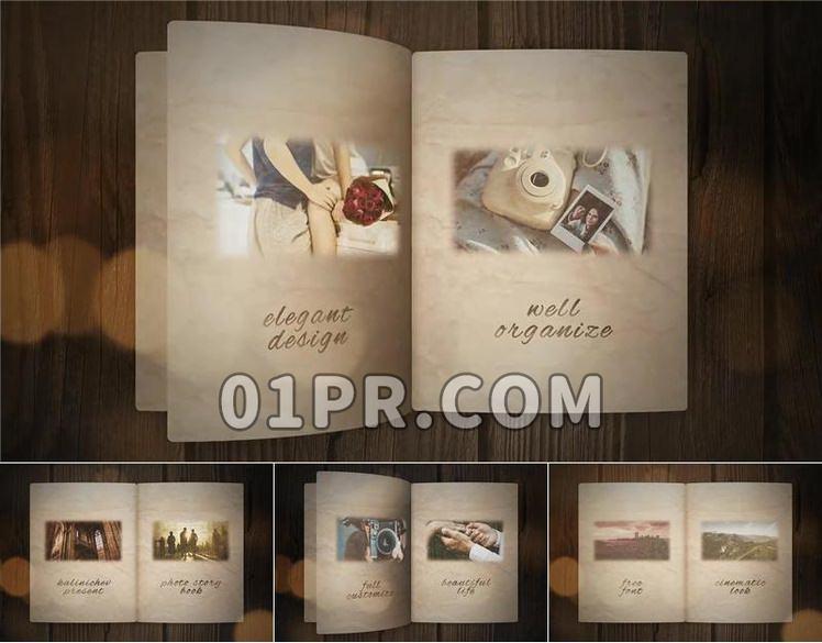 Pr电子相册模板 旧书纸页翻开炫光复古优雅 Pr模板相册