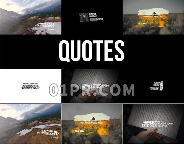 Pr字幕模板 6组时尚全屏动态引号引用语录标题文字 Pr素材