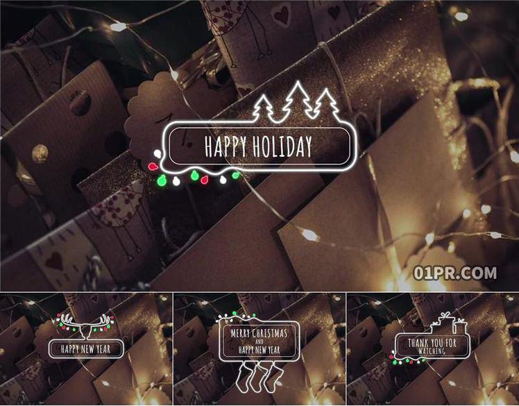 Pr字幕模板 10组圣诞节冬天假日霓虹灯标题文字 Pr素材
