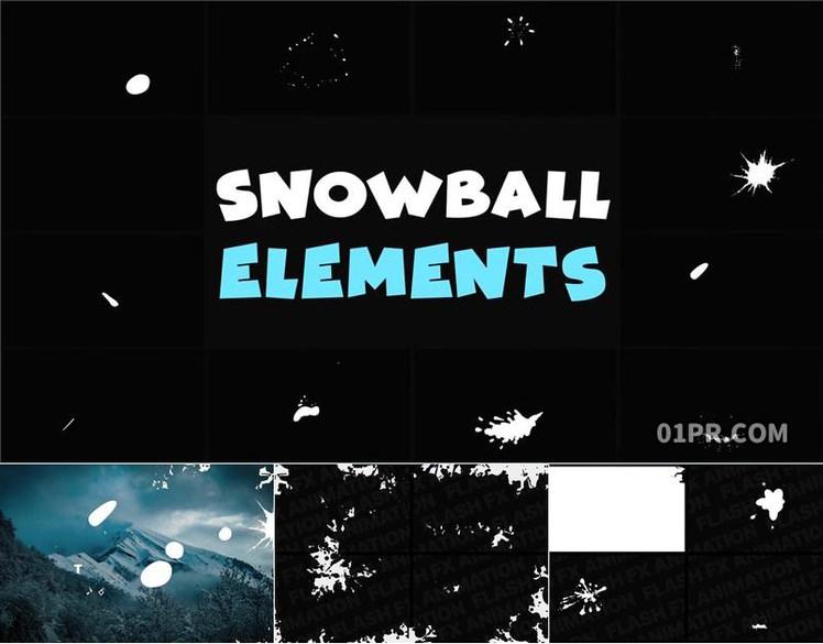 Pr图形模板 10组4K动画卡通手绘冬天雪球元素 Pr素材