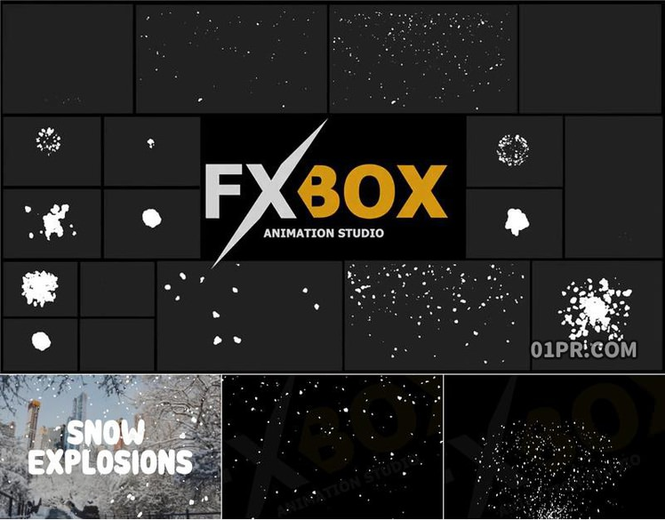 Pr图形模板 18组4K卡通动画冬天雪花落雪下雪元素 Pr素材