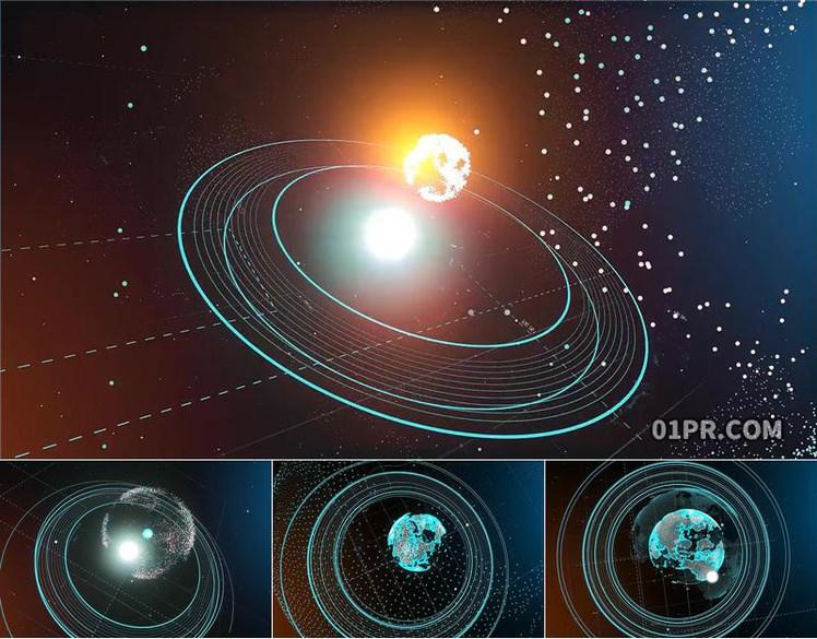 Pr模板标志 3D数字地球空间科技LOGO演绎 Pr素材