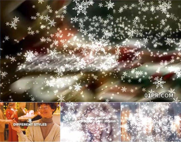 Pr转场模板 48组雪花粒子过渡效果新年圣诞节 Pr素材