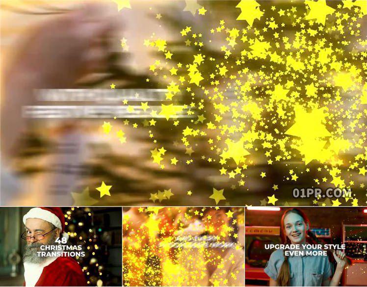 Pr转场模板 48组闪光星星五星粒子动画过渡效果 Pr素材