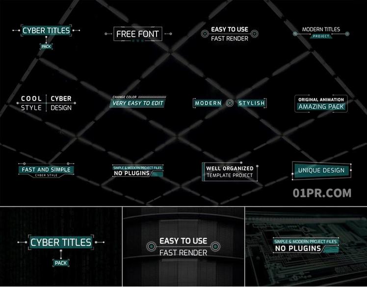Pr字幕模板 12组现代朋克动态标题动画文字 Pr图形模板