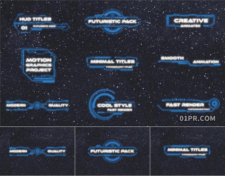 Pr字幕模板 9组HUD数字科技未来几何动画标题文字 Pr素材