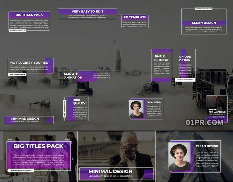 Pr字幕模板 12组现代公司企业全屏动态标题动画文字 Pr素材