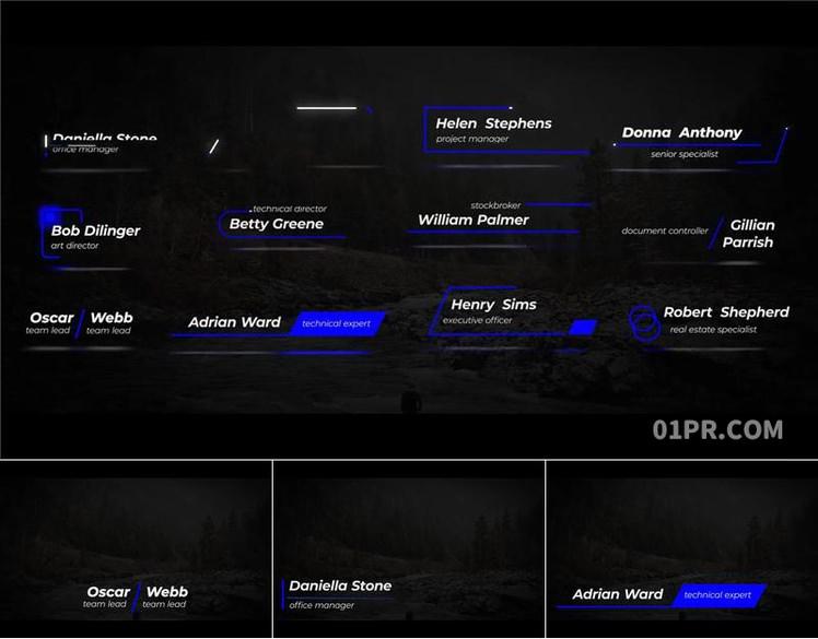Pr字幕模板 12组线性动态人名字幕条动画文字标题 Pr素材