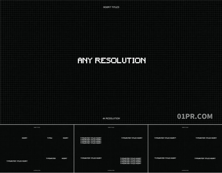 Pr字幕模板 80组4K闪烁打字机标题打印动画命令行文字 Pr图形模板