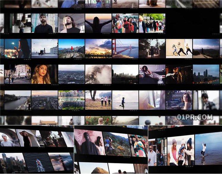 Pr片头模板 60张36秒网格视频墙展示LOGO开场 Pr模板