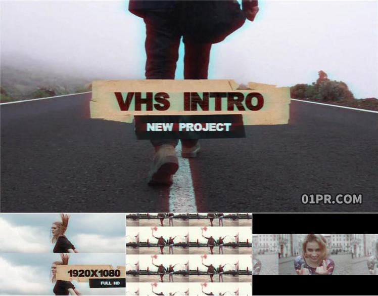 pr片头模板 9张30秒VHS复古磁带胶带故障特效开场 pr素材