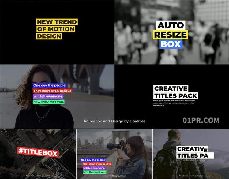 pr字幕模板 9组4k简约动画文字标题自动调整长度大小 基本图形