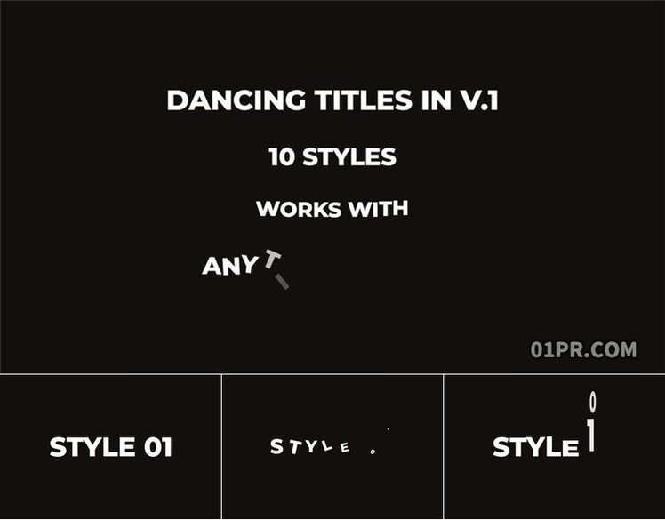pr字幕模板 10组跳跃摇晃跳舞舞蹈动画文字标题 pr基本图形