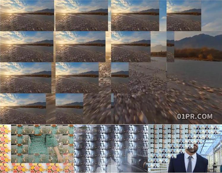 pr转场模板 10组多帧网格屏幕过渡效果 pr素材