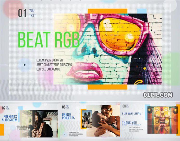 pr图文模板 12张32秒拍打RGB闪烁企业体育科学幻灯片