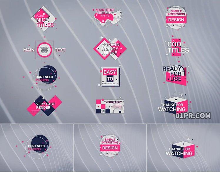 pr字幕模板 12组创意几何动画文字标题 pr素材