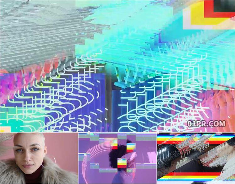 pr转场模板 12组RGB数字回波过渡特效朋克科技游戏