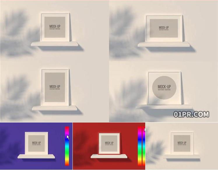 pr模板 墙台实拍相框海报模型样机mockup pr素材