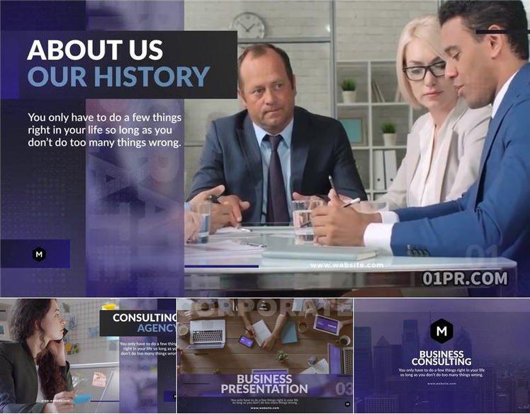 PR宣传片模板 12张43秒现代企业商务图文展示