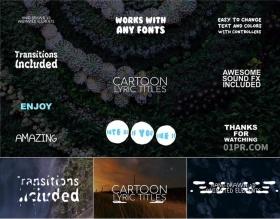 FCPX字幕插件 12组卡通手绘元素动画歌词文字标题音效 FCPX插件