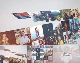 FCPX相册插件 40张25秒照片墙网格片头LOGO演绎 FCPX标志模板