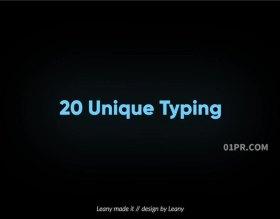FCPX字幕插件 20组简洁打印打字机动画效果文字标题 FCPX素材
