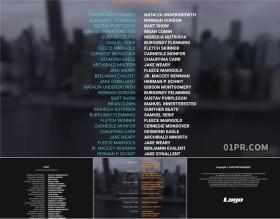 FCPX片尾模板 4组电影谢幕演员表结尾滚动字幕人名列表 FCPX素材