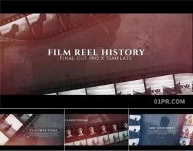 FCPX模板插件 16张59秒历史电影胶片图片宣传开场片头 FCPX素材
