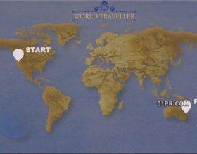 FCPX插件 地球转动航班飞行路径线路旅游旅行线条 FCPX素材