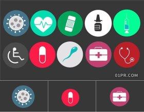 FCPX插件 11组简洁简单现代医学动画动态图标贴纸 FCPX模板