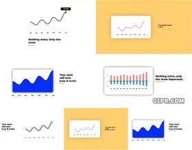 FCPX模板 5组4K简洁色差醒目商务统计折线图表现代 FCPX素材