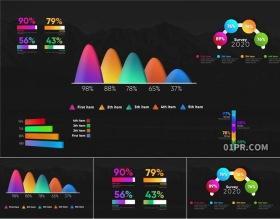 FCPX模板 5组炫彩柱状图百分比条形图信息数据图表 FCPX素材