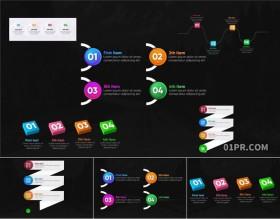 FCPX模板 5组简洁多彩动画数据列表步骤流程图表 FCPX素材
