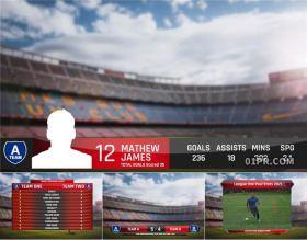 FCPX模板 30组4K足球体育运动人名字幕标题对比阵容 FCPX插件