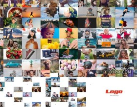 AE片头模板 14秒简洁多帧照片墙标志LOGO展示 AE模板