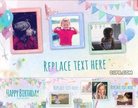 AE模板相册 15张65秒儿童孩子生日聚会家人庆祝