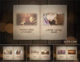 AE模板相册 30张66秒3D复古动画翻书翻老旧书本回忆相册